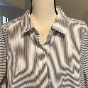 Talbots Woman Pin Striped Blouse Blue/White Sz 20W